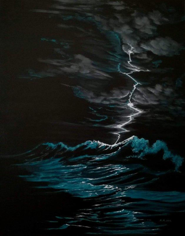 Lightening strike. Original art by Zoe Adams