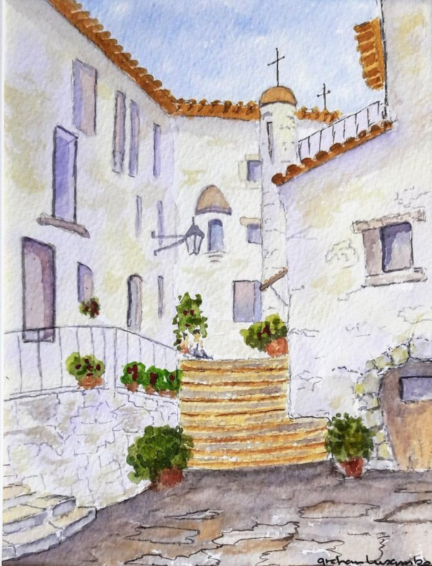 Italian Steps. Original art by Graham Luscombe