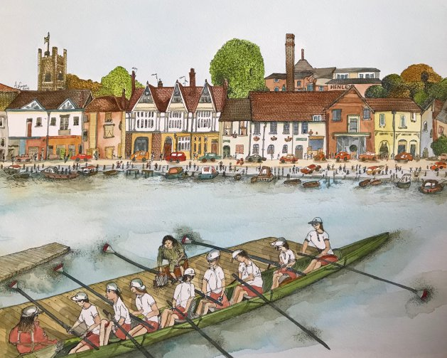 In Charge At Henley Regatta. Original art by Adrian Green
