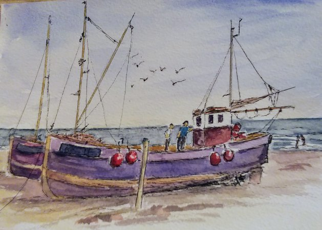 Fishing boats. Original art by Margaret Barber