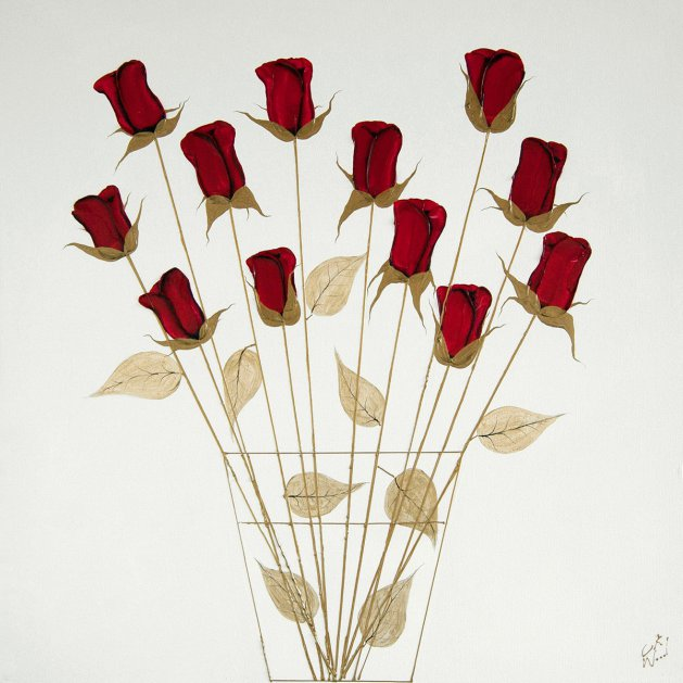 12 Red Roses. Original art by C.A. Wood