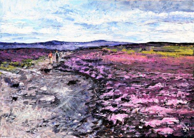 Walking on Stanage Edge. Original art by Simon Gilmartin