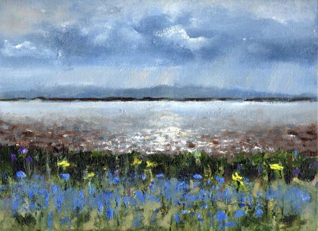 Moel Famau and Bluebells. Original art by Steve Strode