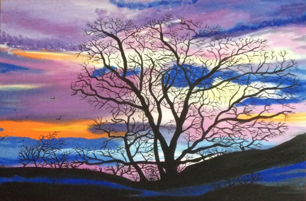 Stunning night sky. Original art by Judy Johnstone