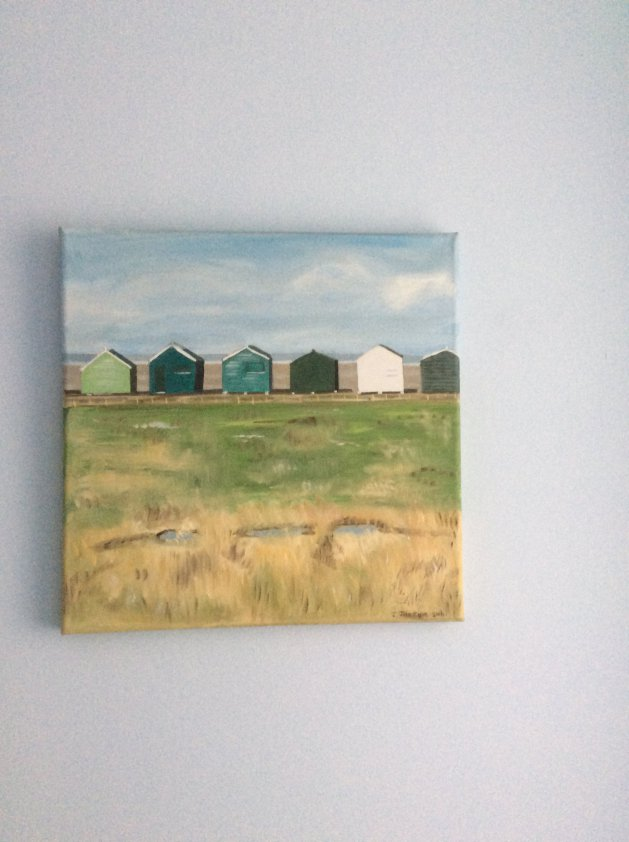 Beachhuts in seasalter. Original art by Judy Johnstone