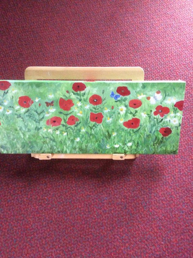 Poppies and butterflies. Original art by Judy Johnstone