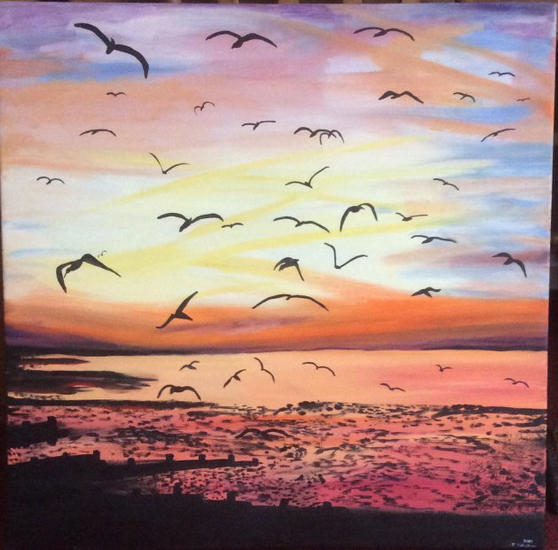 Seagulls and sunsets. Original art by Judy Johnstone