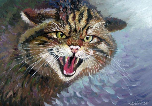 Scottish Wild Cat. Original art by George Dow