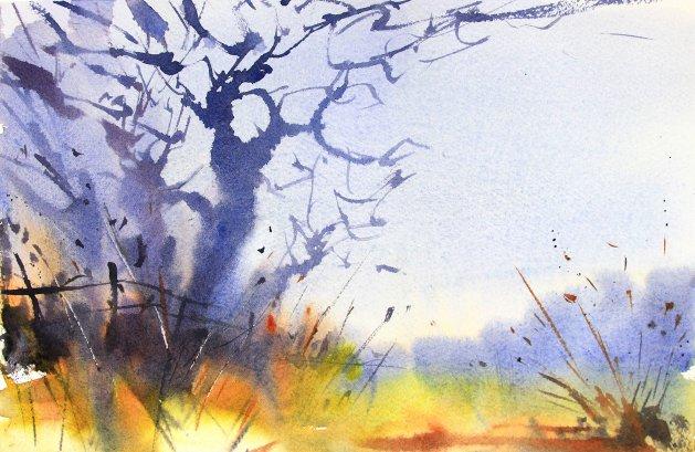 Winter Trees at Styal #2. Original art by Adrian Homersham