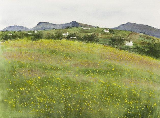 Nantlle Ridge, Snowdonia from Bryngwyn. Original art by Mair Oliver