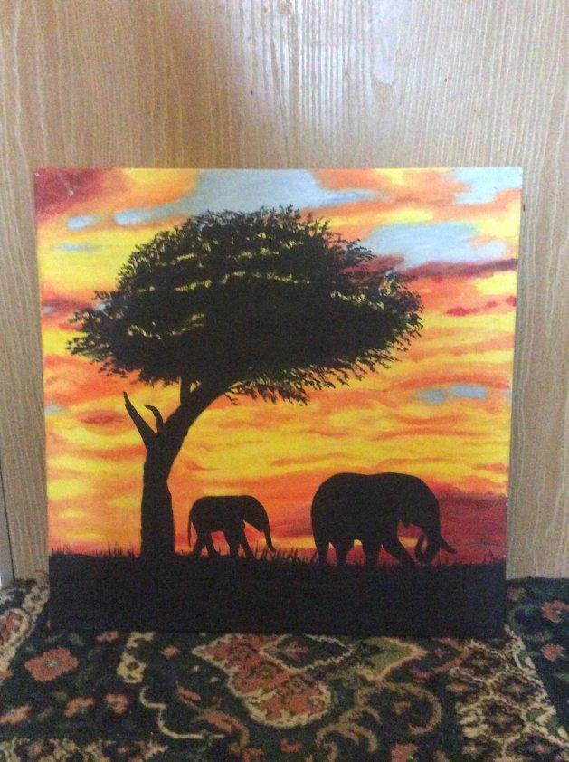 Sunset under an African sky. Original art by Judy Johnstone