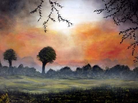 Red Sky in the Morning. Original art by Irene Gelling