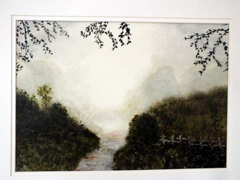 Alone on a misty morning. Original art by Irene Gelling