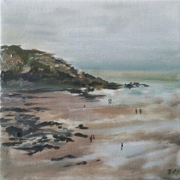 New years day beach. Original art by Christine Gray