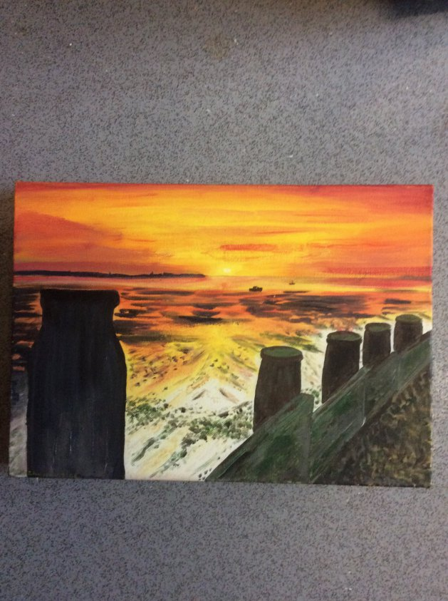 Sunset over the sea. Original art by Judy Johnstone