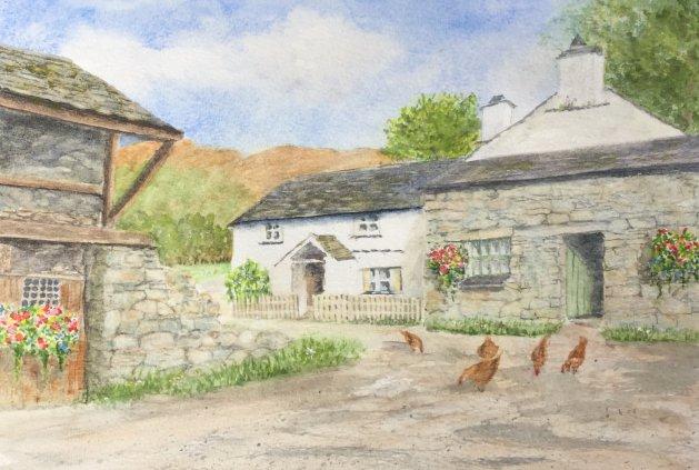 Yew Tree Farm Cottage, Cumbria. Original art by Patricia Waller