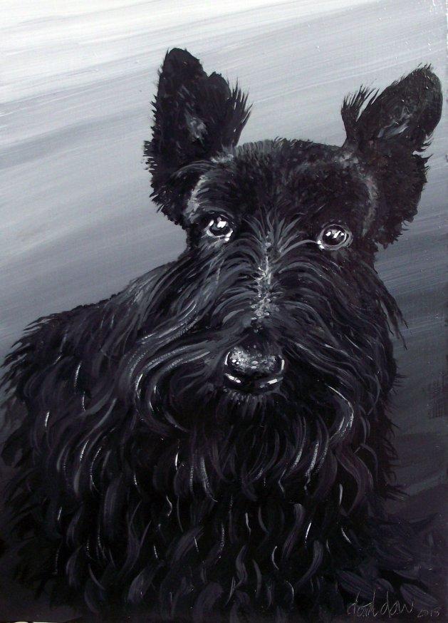 The Black Scottie. Original art by George Dow