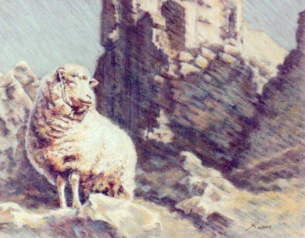 """Corfe Castle"". Original art by Amanda Roussos"