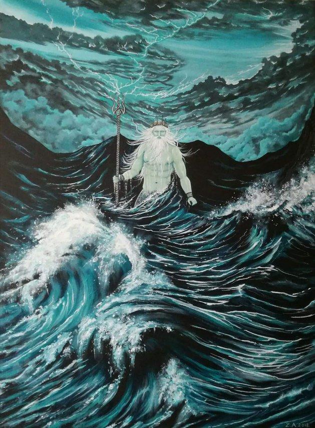 Neptune Rising.. Original art by Zoe Adams