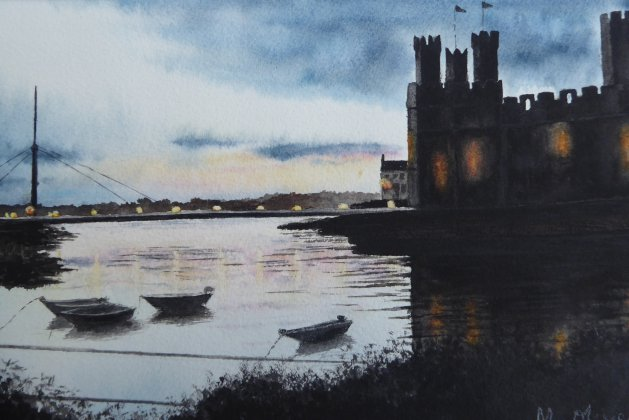 Caernarfon Castle at Dusk. Original art by Mair Oliver