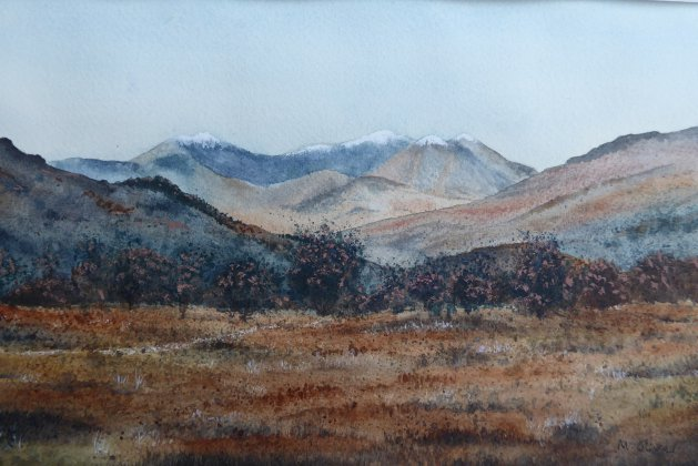 Snowdon from Capel Curig. Original art by Mair Oliver