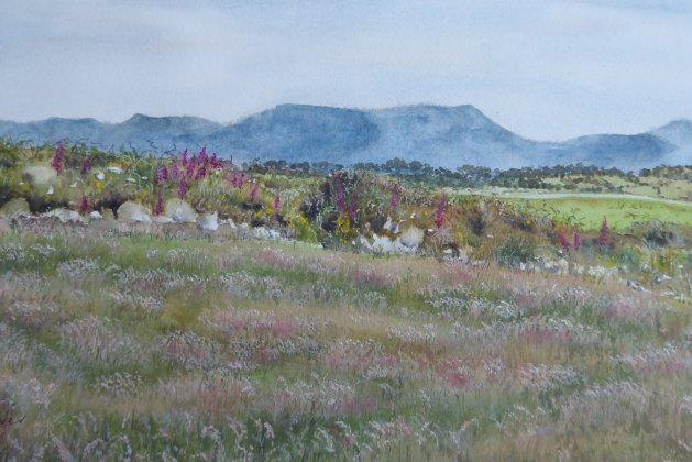 Nantlle Ridge, Snowdonia. Original art by Mair Oliver