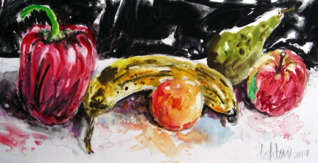 Red Pepper & Fruit. Original art by George Dow