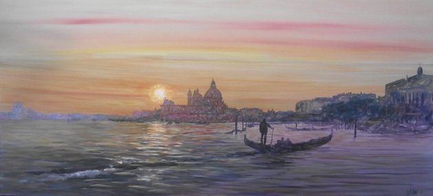 Sunset, Venice. Original art by George Dow