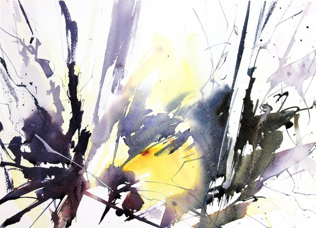 Light Through Winter Woodland. Original art by Adrian Homersham