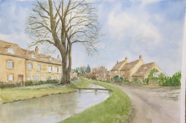 Lower Slaughter, Cotswolds (2). Original art by Patricia Waller