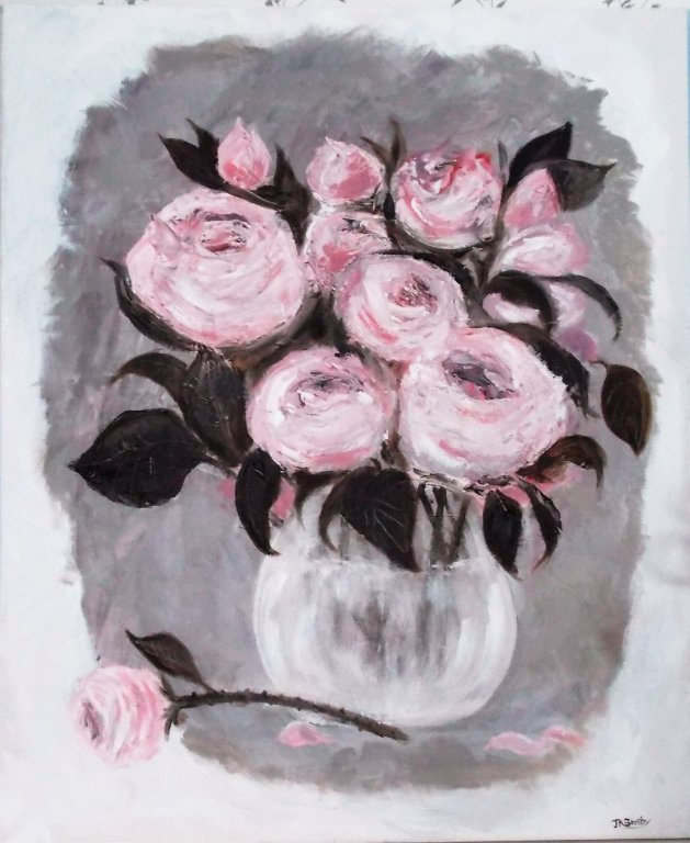 Vase of Roses. Original art by Jennifer Bratby