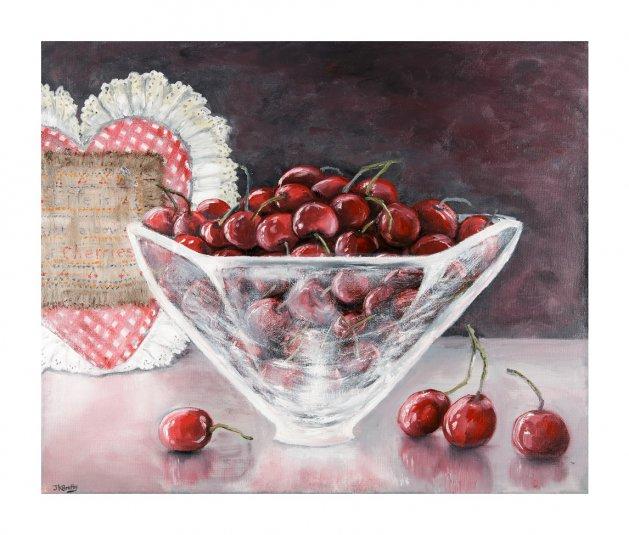 Cherries. Original art by Jennifer Bratby