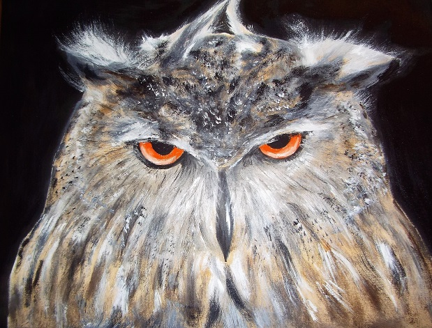 Midnight Owl. Original art by Jennifer Bratby