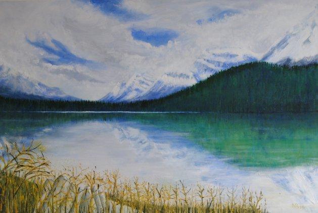 Glacier Parkway, AB, Canada.. Original art by Nick Byford