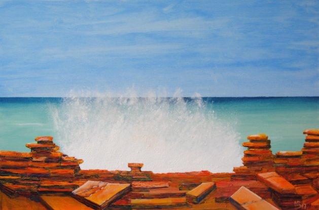 Sea spray, Gantheaume Point.. Original art by Nick Byford