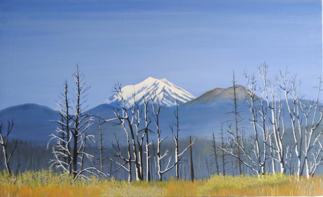 Mount Shaster, Ca, USA.. Original art by Nick Byford