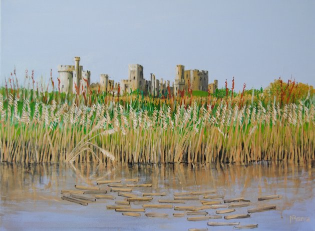 Arundel Castle from the river.. Original art by Nick Byford