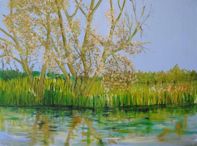 The River Arun with trees.. Original art by Nick Byford