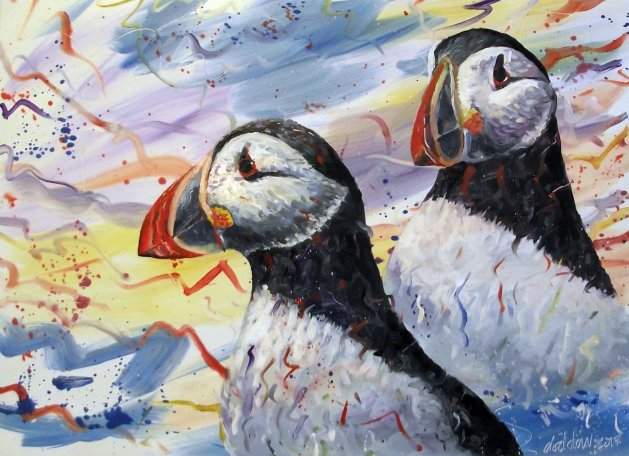 Puffins. Original art by George Dow