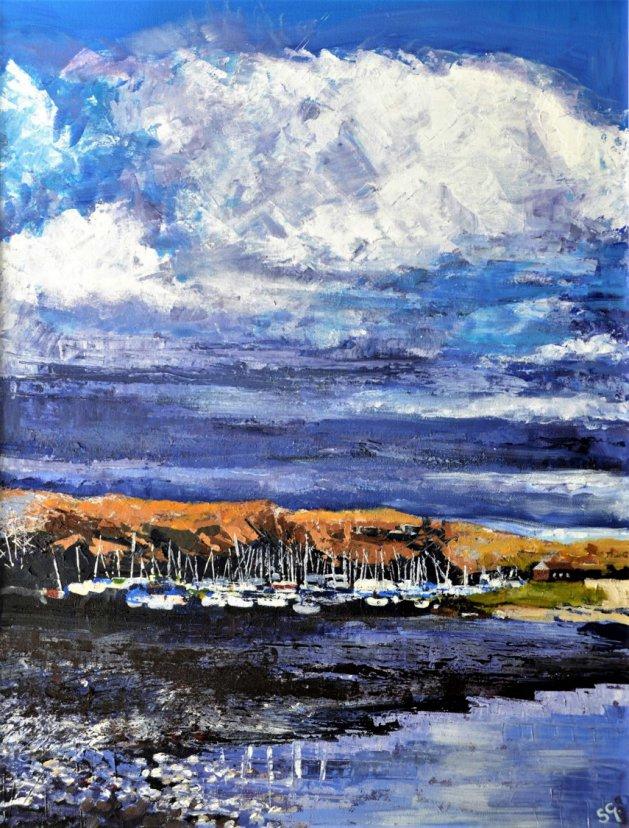 Sailing Club, Carsington Water. Original art by Simon Gilmartin
