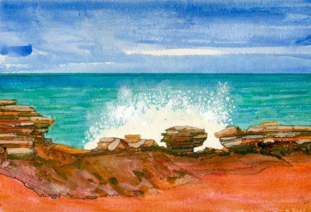 Gantheaume Point 1, WA. Original art by Nick Byford