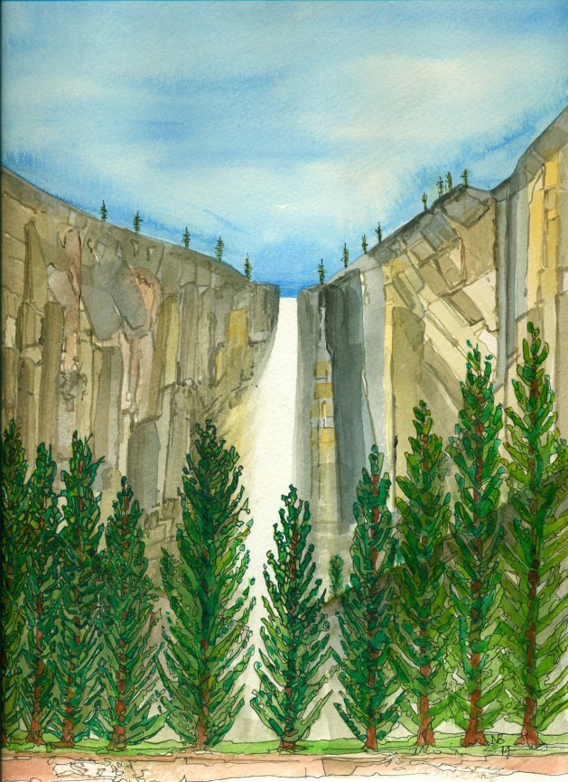 Bridal Veil Falls, Yosemite. Original art by Nick Byford