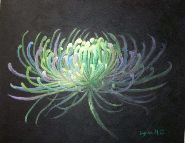 Spider Chrysanthemum. Original art by Lynda Cockshott