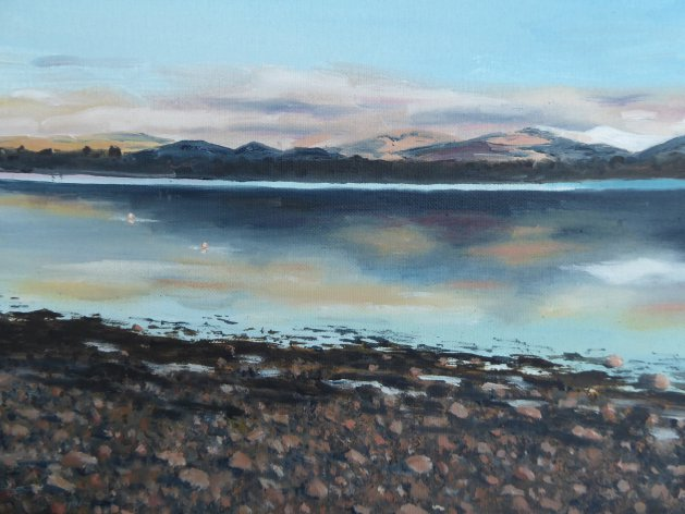 Snowdonia from the Menai Straits. Original art by Mair Oliver