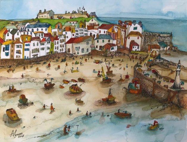 St Ives, Cornwall. Original art by Adrian Green