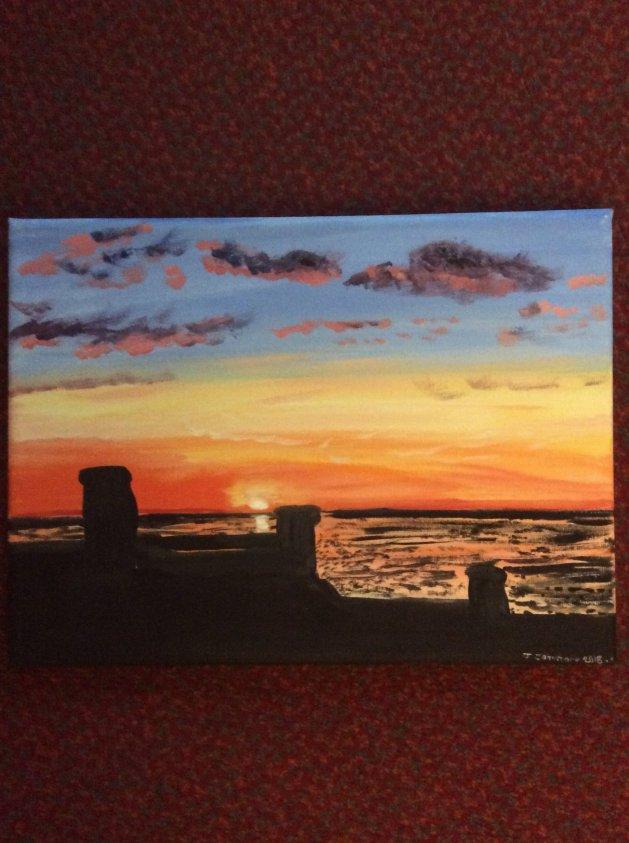 Golden sunset. Original art by Judy Johnstone