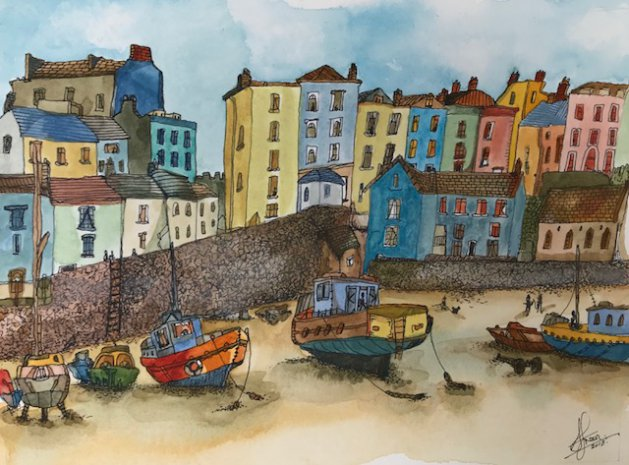 Tenby. Original art by Adrian Green
