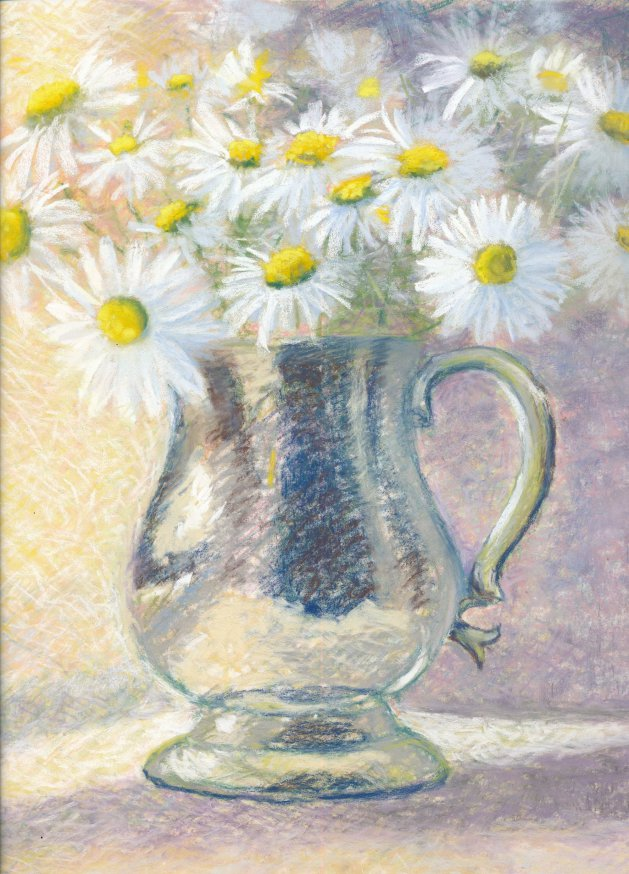 Pewter Mug and Daisies. Original art by Christine Derrick