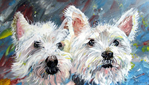 Two White Scotties. Original art by George Dow