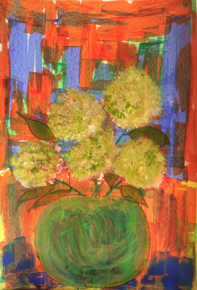 Green vase with flowers. Original art by Alison Baxter